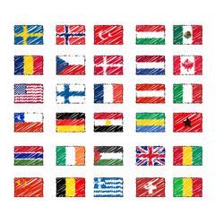 pencil drawed world flags vector