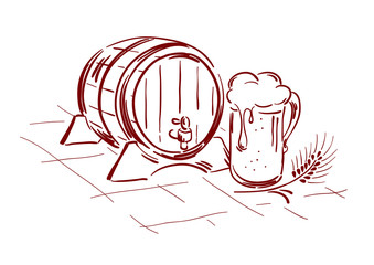 Beer barrel and mug