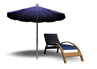 Beach Parasol and Deckchair