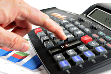 someone presses the keys in a calculator