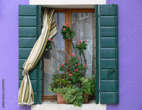 burano fenster mit blumenkasten vor lila hauswand. Black Bedroom Furniture Sets. Home Design Ideas