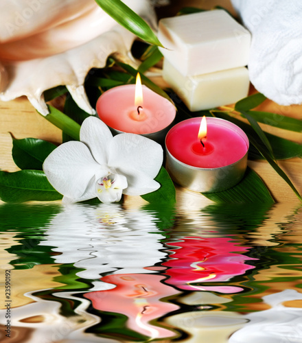 spa decoration with orchid, candles and sea shell from Vera ...