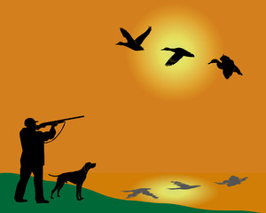 Silhouette of the hunter of ducks with a dog