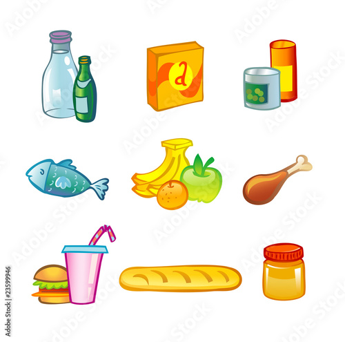 Food collection, isolated, vector illustration