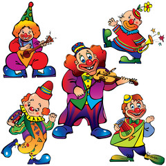 Funny clowns with musical instrument. Vector art-illustration.