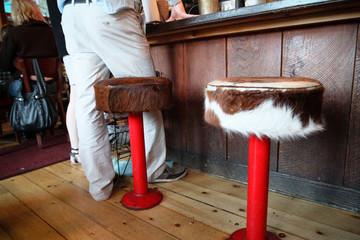cow skin bar stools