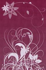 Blumenornamente mit gemustertem Hintergrund