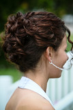 brown curl up do hair style wedding bride