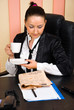 Businesswoman drink coffee and read the news