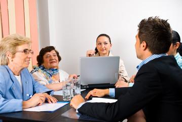 Business group having meeting