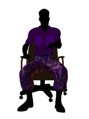 Male Soldier Sitting On An Office Chair Silhouette
