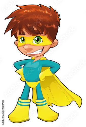 Young superhero. Vector character, isolated object