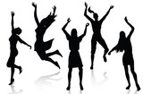 Happy active women silhouettes