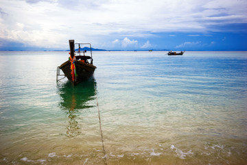 Thai boat near the beach. Phi Phi island. Thailand