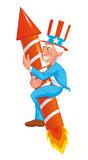 Uncle sam on fireworks rocket poster