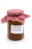 jar of homemade marmalade over white poster