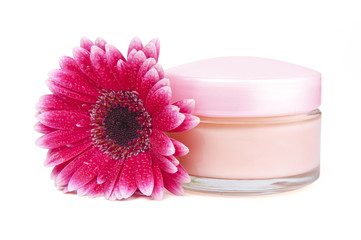 Face cream and gerbera flower with clipping path