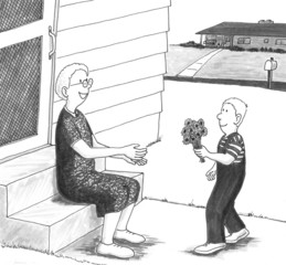 Boy giving grandmother flowers.