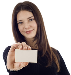 Friendly BusinessWoman with Blank Business Card