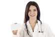 Smiling Medical Doctor Holding a Blank Card