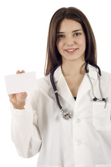 Medical Doctor Holding a Blank Card
