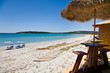 Parasols on beach, Sardinia
