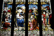 Nativity scene on stained glass in Coventry Holy Trinity