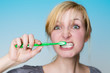 Stressed brushing teeth