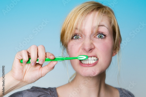 Stressed brushing teeth