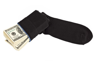 US dollars bundle hidden in black sock
