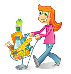 A woman pushing a basket while shopping in the grocery store