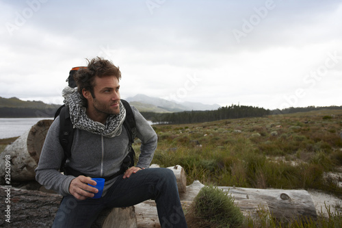Man on a hiking trip