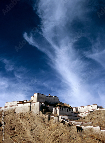 Tibetan monastery, Gyantse Dzong, built high on a hill