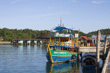 Thai boat is at the wharf. Koh Chang, Thailand.