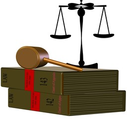 3d law books with gavel and scales on white