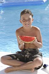 Charles,bord de piscine,pastéque