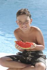 Charles,bord de piscine,pastéque,rire