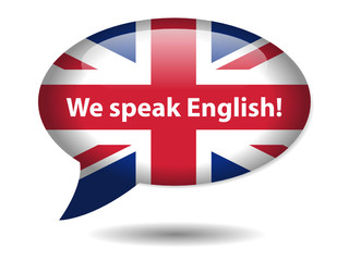 """We Speak English!"" Speech Bubble Icon (UK Flag Language Button)"
