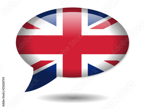 UK Flag Speech Bubble Icon (English Language Version Web Button)