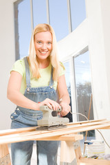 Woman renovating her home