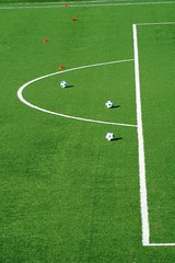 Football pitch with three soccer balls