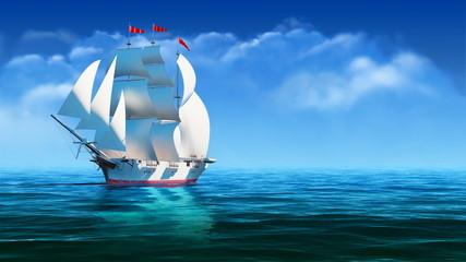 Sailing vessel at ocean