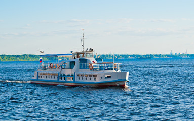 Ship on the Volga in the summer on a evening