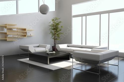 3d render modern living room - 23635572