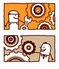 worker & engineer with gears