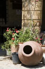 street scene inside historic architecture lefkosia cyprus