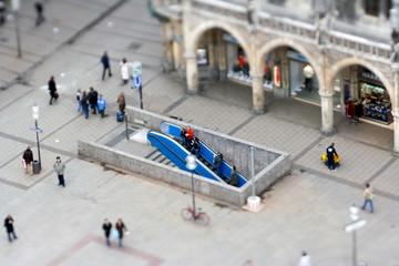 Marienplatz München - Reale Tiltshift Aufnahme, kein Modell