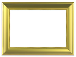 Gold rectangular frame isolated on white background.