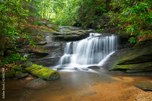 Waterfalls Peaceful Nature Landscape in Blue Ridge Mountains