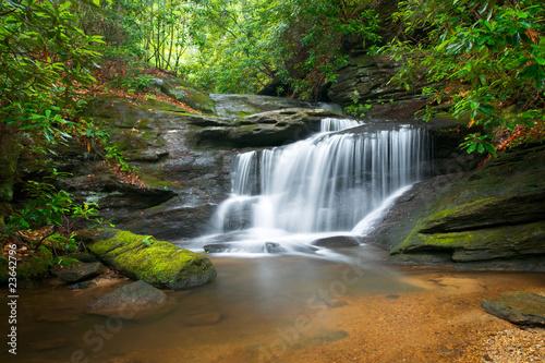 Waterfalls Waterfalls Peaceful Nature Landscape in Blue Ridge Mountains